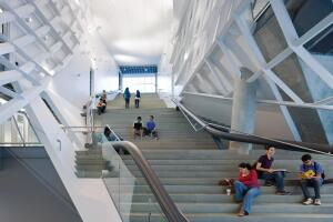 Cooper Union for the Advancement of Science and Art. View of the entrance stair, NewYork City, 2009.