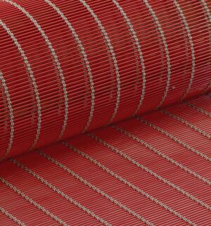 GKD has added a little color to its woven metal meshes. To produce the new Creative Weave collection, the German company collaborated with a band-coating specialist to develop a process for the UV-resistant and weather-resistant coating of flat wire. A color coat approximately 15 micrometers thick plus a silk-gloss lacquer can be applied and heat-set to several thousand meters of wire per coil, in any quantity required. Six colors are available: black, white, blue, red, green, and gold.  creativeweave.de