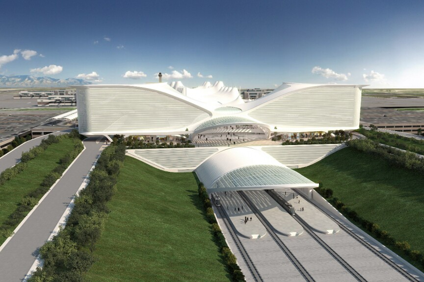 A rendering by Calatrava of the hotel and train station