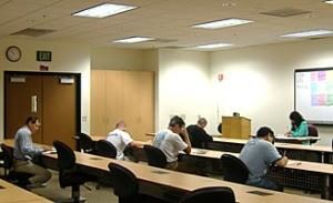 Los Angeles County pool pros take the exam for their technician certification.
