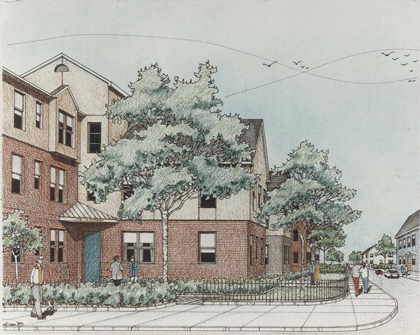 A sketch of proposed renovations to the exterior and interventions into the streetscape.