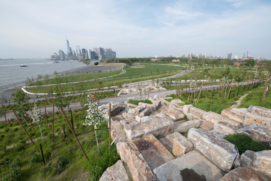 View from the top of the scramble on Outlook Hill, looking north over the park on Governors Island.