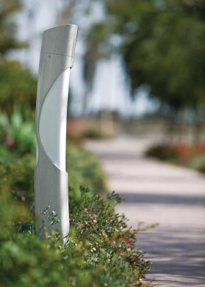 "Forms + Surfaces' new LightScale Bollard was designed as a path light but also can be used as exterior lighting for parklands, campuses, hotels, or any other public environment. The fixture stands 42"" tall and uses white acrylic lenses over a 55W or 40W compact fluorescent lamp. The housing is a formed aluminum extrusion with a choice of two zero-VOC powdercoat finishes: aluminum texture and slate texture. Custom colors also are available. The bollard is made from 68% recycled content and is 90% recyclable. - forms-surfaces.com"