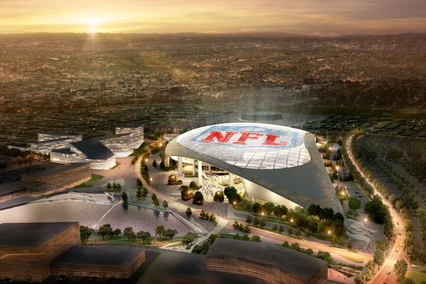 Aerial of the proposed NFL Entertainment District