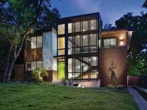 The Labron Residence in suburban Dallas was designed as a modernist take on a treehouse.