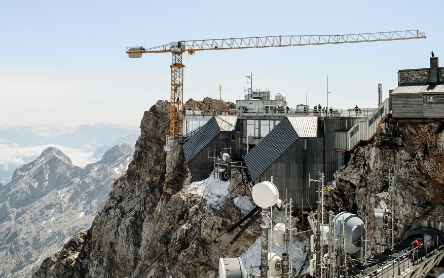 A crane is installed on the Zugspitze, Germany's highest mountain, to build the new cable car set to replace the current Eibsee cable car in December 2017.
