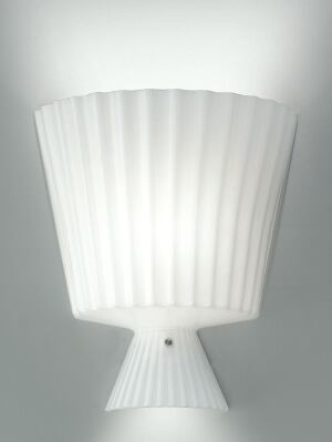 Katerina wall sconce  Leucos USA  www.leucosusa.com  Knife-pleat blown-glass fixture  Available in white and citrus green, both in a high-gloss finish  Collection includes a large and a small pendant, a wall sconce, and a table lamp  Designed by Thomas Sandell