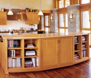"crafty exchange  Spearhead Timberworks has ""these amazing millwork machines hooked up to computers that turn out beautifully crafted pieces,"" Carney boasts. The kitchen in this Carney project shows off Spearhead's cabinets and ceiling treatments. Spearhead Timberworks, 877.815.1932; www.spearheadtimberworks.com"