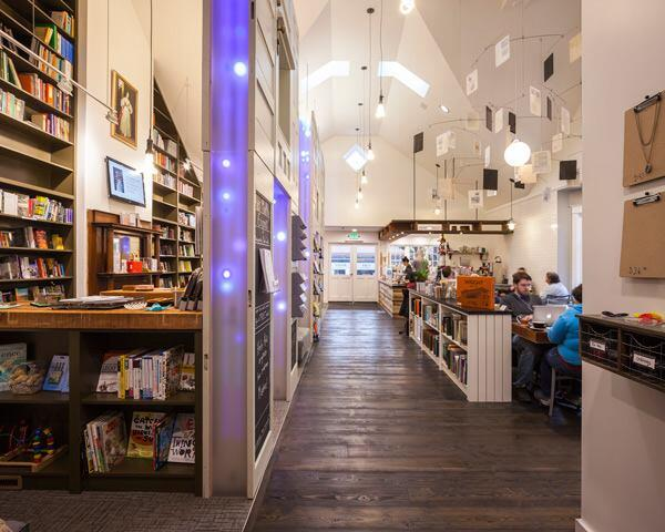 Interior, bookstore and cafe.