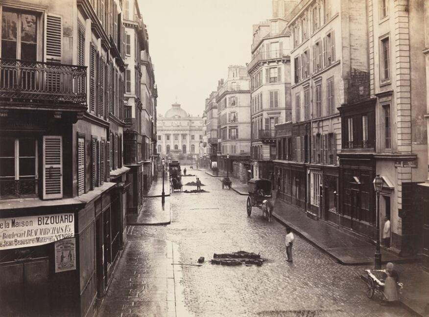 Rue de Constantine (fourth arrondissement), 1866. Albumen print from collodion negative. Lent by The Metropolitan Museum of Art, The Horace W. Goldsmith Foundation Fund, through Joyce and Robert Menschel, 1986. Image © The Metropolitan Museum of Art.