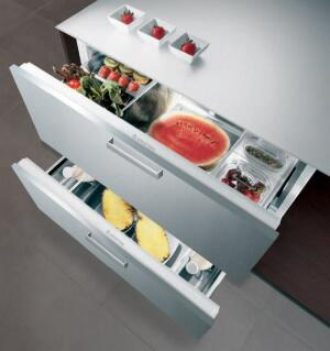 cold storage This double-drawer refrigerator is by no means the first of its kind, but at 36 inches wide it's the largest. Designed and manufactured by Ariston, of Italy, the unit offers 6.7 cubic feet of storage space and has stainless steel racks and re