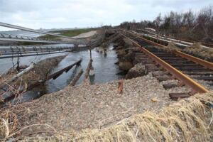 Asection of washed-out tracks is seen on the Long Island Rail Road.