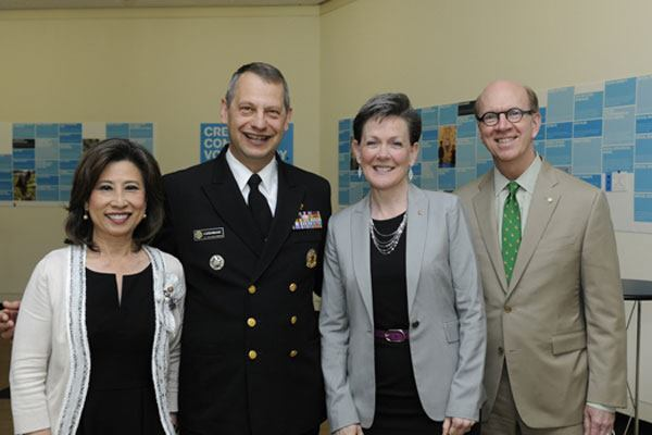 Acting U.S. Surgeon General Rear Admiral Boris Lushniak with Elizabeth Chu Richter, FAIA, 2014 AIA first vice president/president-elect and 2015 AIA president; Helene Combs Dreiling, FAIA, 2014 AIA president; and Robert Ivy, FAIA, AIA CEO.