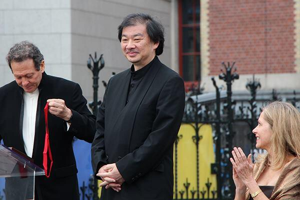 Shigeru Ban, Hon. FAIA, receives the Pritzker Architecture Prize at a ceremony held at Amsterdam's Rijksmuseum on June 13.