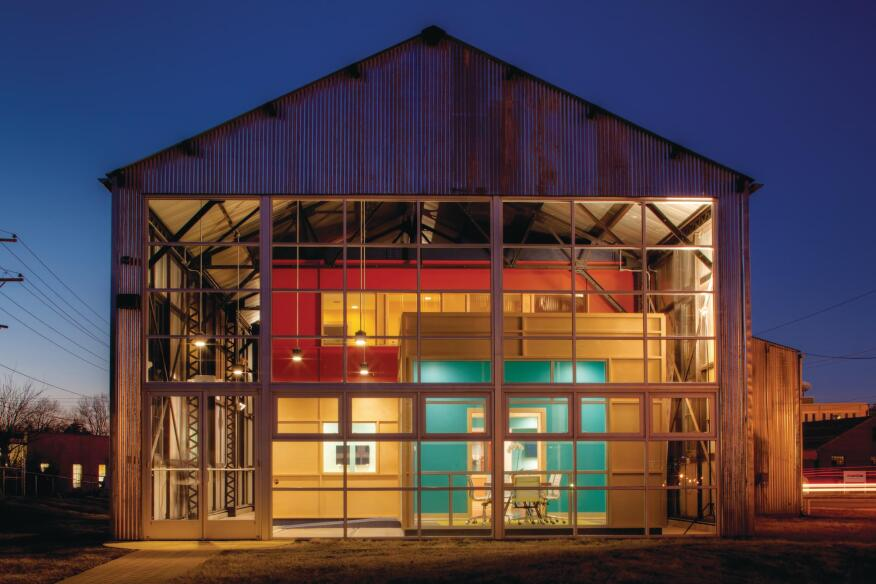 Take It Down Dovetail Construction renovated this 1907 electric trolley barn by taking it down to the steel frame.