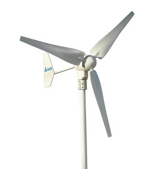 Delta Electronics. The 400-watt HAWT turbine generates 50 kWh per month in 13.4-mph wind conditions. The rotor, which starts up in 8-mph winds, measures 49.6 inches in diameter. It includes electronic overspeed protection. The firm also makes a 1.0-kW model. 888.979.9889. www.delta-corp.com/windenergy.