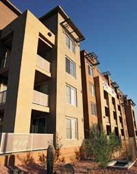 Residents of Trillium at Rio Salado in Tempe enjoy apartments with spiral staircases, electric fireplaces, and oversized soaking tubs.