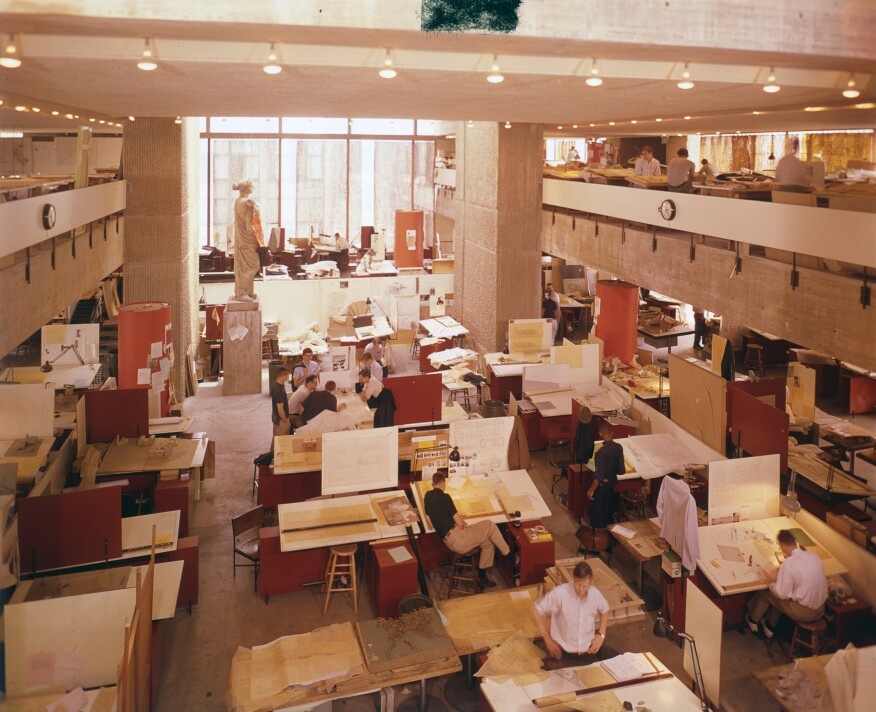 Studios in Rudolph Hall (then the Art and Architecture building) in 1963