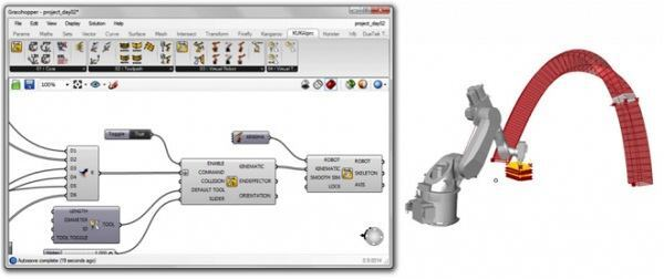 The new KUKA|prc plugin for Grasshopper enables architects working with Rhinoceros to program for robot controllers.