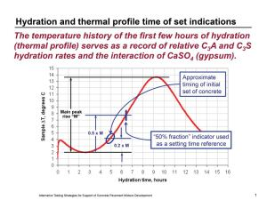 The temperature history of the mixture serves as a record of relative hydration rates.