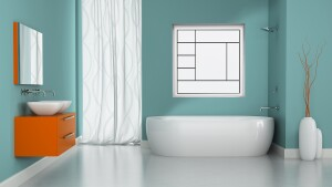 Contemporary window options from Hy-Lite let light in while providing a stylish element to the bathroom.