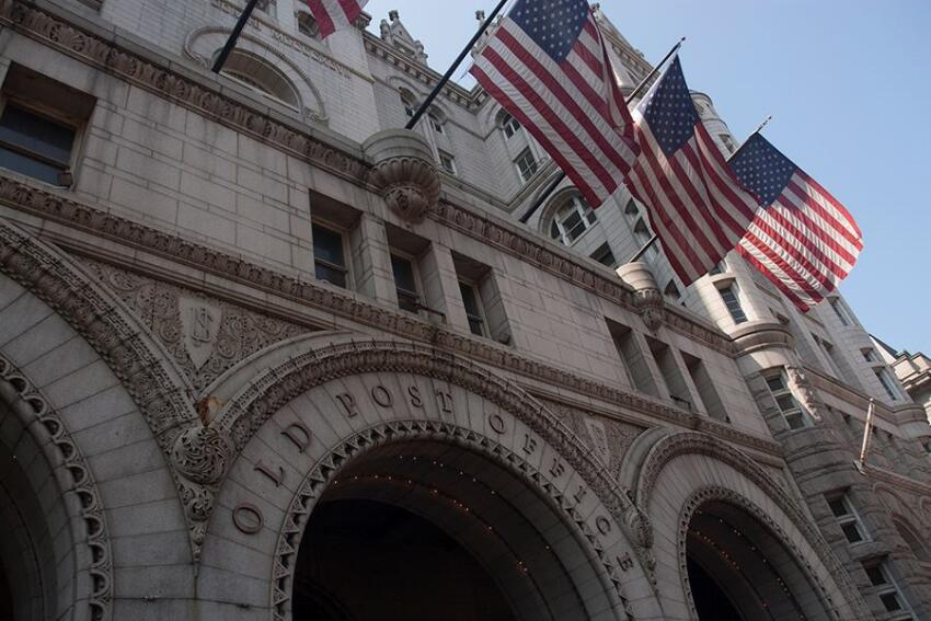 The current Pennsylvania Avenue facade of the Old Post Office building.