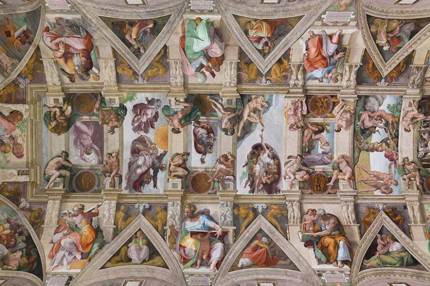 A detail of the Sistine Chapel's ceiling after the lighting refurbishment and illuminated with the new custom LED lighting system.
