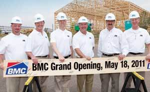 READY TO BOARD: BMC celebrated the grand opening of its new distribution center in Denver on May 18. Shown from left are BMC executives Chris Jones, Doug Whiting, Jon Cohen, and Todd Simianer; CEO Peter Alexander; and BMC executive Michael Badgely. On May 19, BMC also announced the opening of a new yard in Houston.
