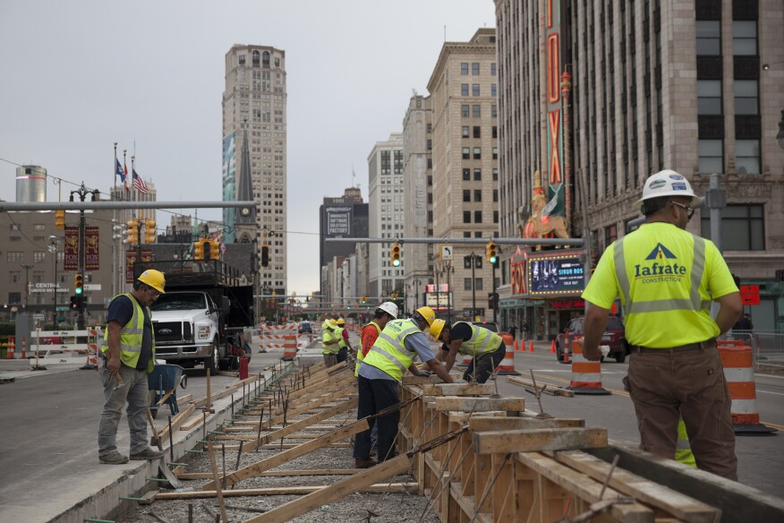 Construction on the Q Line near the historic Fox Theatre