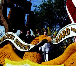 After Marshall's mother won an Employer Support for the Guard and Reserve (ESGR) essay contest detailing how an employer is supporting a reservist, Weidmann (left), Marshall, and his wife, Jenny, were asked to ride ESGR's float in the 2004 Rose Parade.