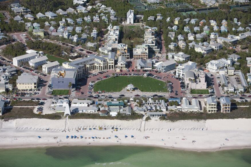 A aerial view of the beachfront development of Seaside, Fla.
