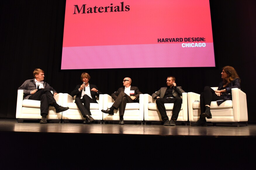 Participants in the opening materials-themed panel discussion, from left: Kiel Moe, AIA (moderator), Jan Knippers, Gail Peter Borden, FAIA, Skylar Tibbits, and Sheila Kennedy, FAIA.