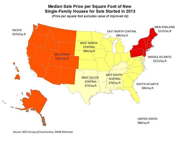 Price Per Square Foot Heat-Mapped, for Contracts and for Sales