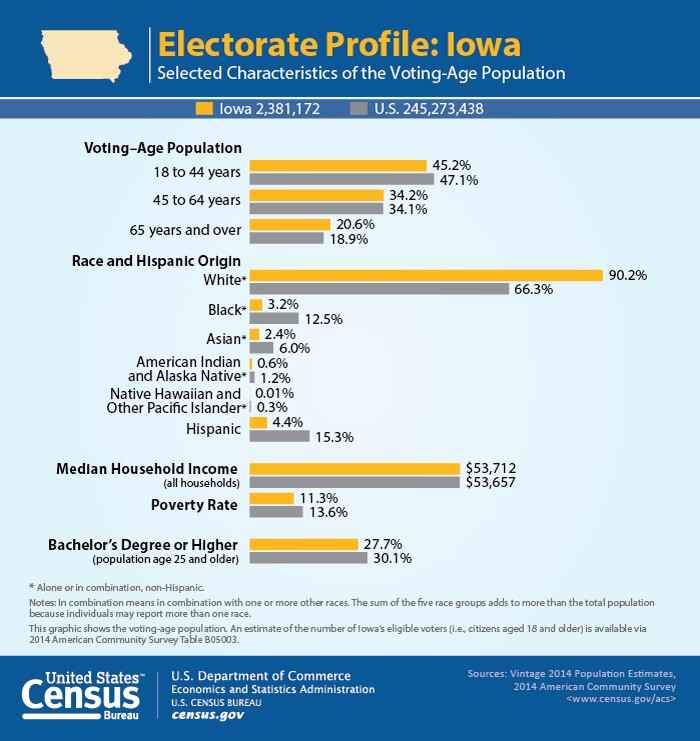 U.S. Census, Iowa electorate, selected characteristics of the voting-age population