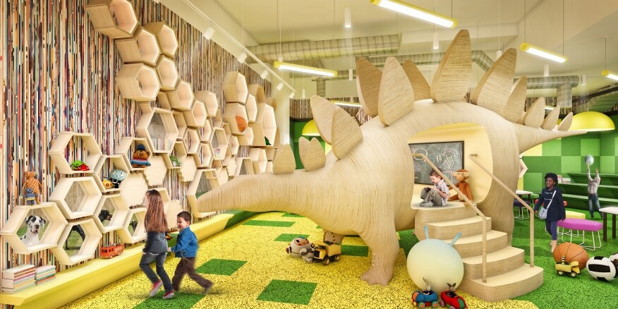 A rendering of the Kids' Playroom at 21 West End on the Upper West Side of Manhattan.