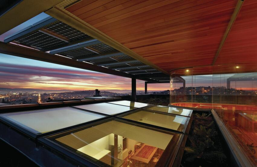 For Xiao-Yen Wang and Andy Martin's renovation in San Francisco, Steely turned the need for bracing (to bolster the structure's seismic resistance) into the benefit of steel-reinforced terraces and added this photovoltaic-topped roof deck to maximize views.