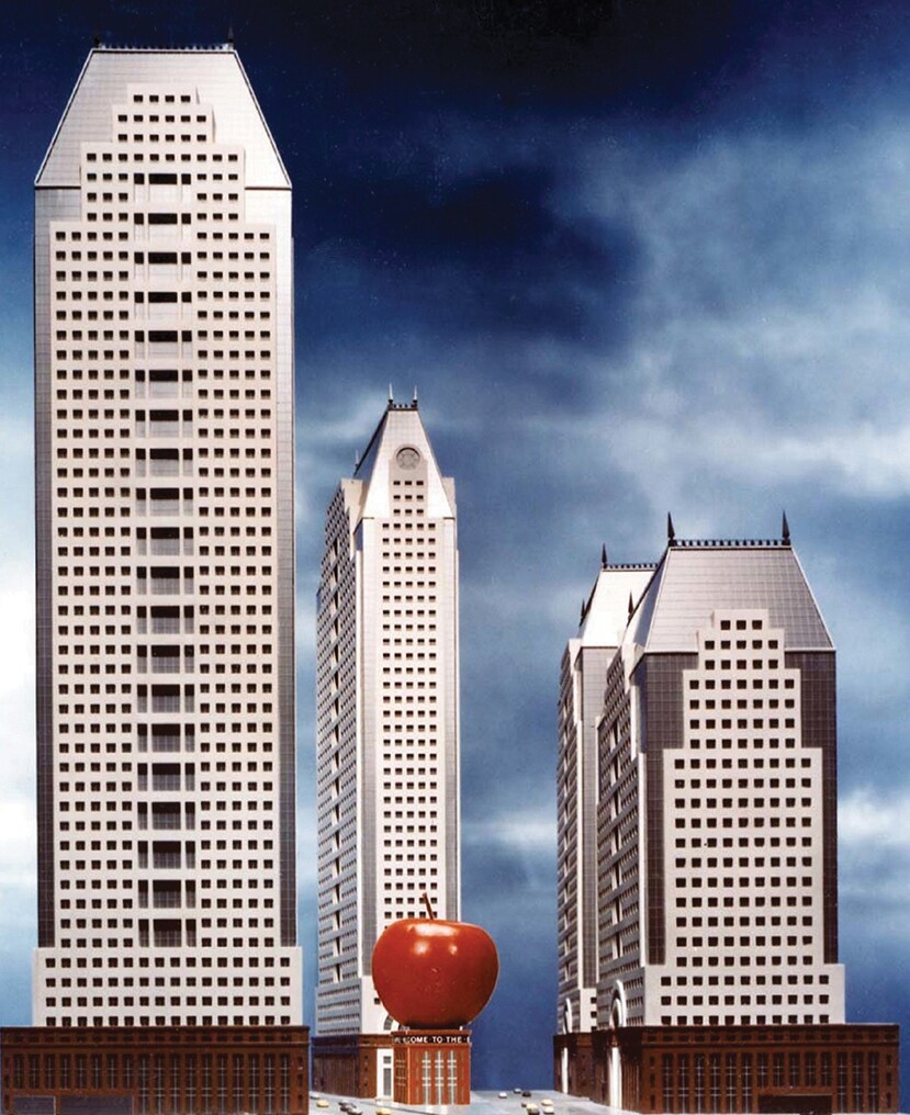 A 1980s Times Square rendering by Johnson and Burgee  (apple designed by Venturi, Scott Brown and Associates)