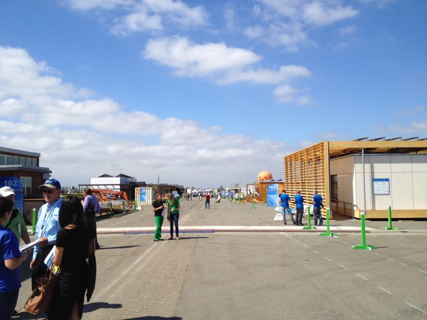 The main avenue through the Solar Decathlon site on media day.