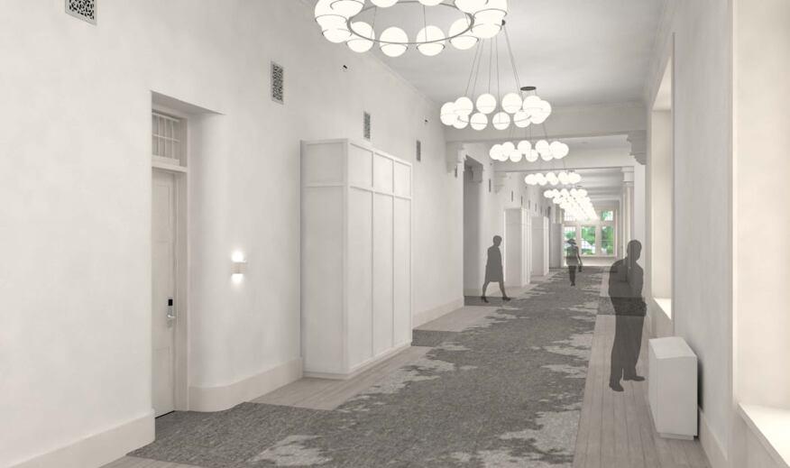 Guestroom corridor in Building 10