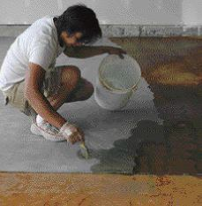 Acid stain can be applied with a brush, but you need to work fast enough to maintain a wet edge.