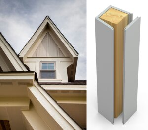 LP's SmartSide trim and fascia (left) comes in smooth and textured profiles. Azek is one of a handful of manufacturers that make snap- together cellular PVC post sleeves (right).