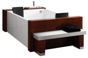 Rich wood gives the Agata a stylish furniture look, and integrated neck pillows and a generous depth make it feel like a comfy recliner. Already great for a simple soak, the two-person, stand-alone tub can be customized with maxi and/or micro massage jets