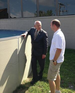 The grand tour: Congressman Paul Tonko checks out a Radiant pool with Collin Sirco, vice president of operations, on a recent tour of the company's manufacturing facility in Albany, N.Y.