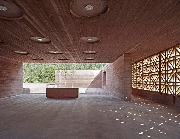 Islamic cemetery, by Bernardo Bader Architects. Congregation space. Altach, Austria.