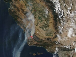 NASA's Terra satellite captured this view of smoke streaming from the Alamo Fire in Santa Barbara County, California, on July 9, 2017 (Photo by NASA).