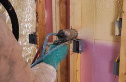 BioBase spray-in-place foam insulation can result in a 50 percent reduction in the homeowner's annual energy bill, claims the maker. The two-part soybean-oil-based polyurethane product, the firm says, expands to fill cavities, crevices, and voids to control interior wall moisture problems, seal out noises, reduce       dust, and increase indoor air quality. 800-803-5189. www.biobased.net.