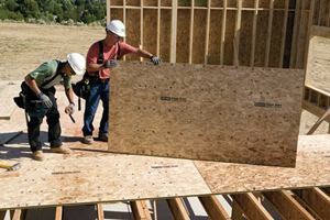 OSB panels, such as these by iLevel by Weyerhaeuser, dominate the production home building market. They'reused as roof and wall sheathing, as well as subfloors.