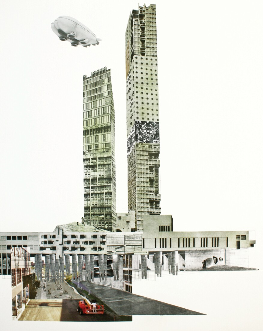 "Marshall Brown Projects, Dequindre Civic Academy, 2016. Towards a Coordinate Unit, handmade collage on inkjet print, 40x50 inches. Speculative project spanning Detroit's Dequindre Cut greenway, from ""The Architectural Imagination: US Pavilion, 15th International Architecture Exhibition."""