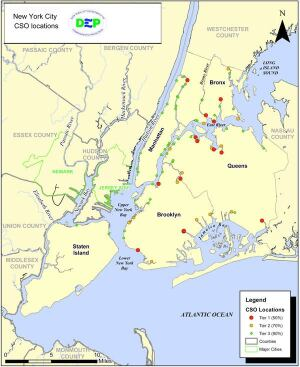 The red dots on the above New York City map indicate the 15 largest combined sewer outfalls in the city, which together dump 13.5 billion gallons of combined stormwater and untreated sewage into local waters every year.