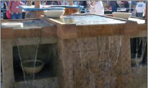Klassen built an entire themed area that included a water feature, wading pool, and pillars.